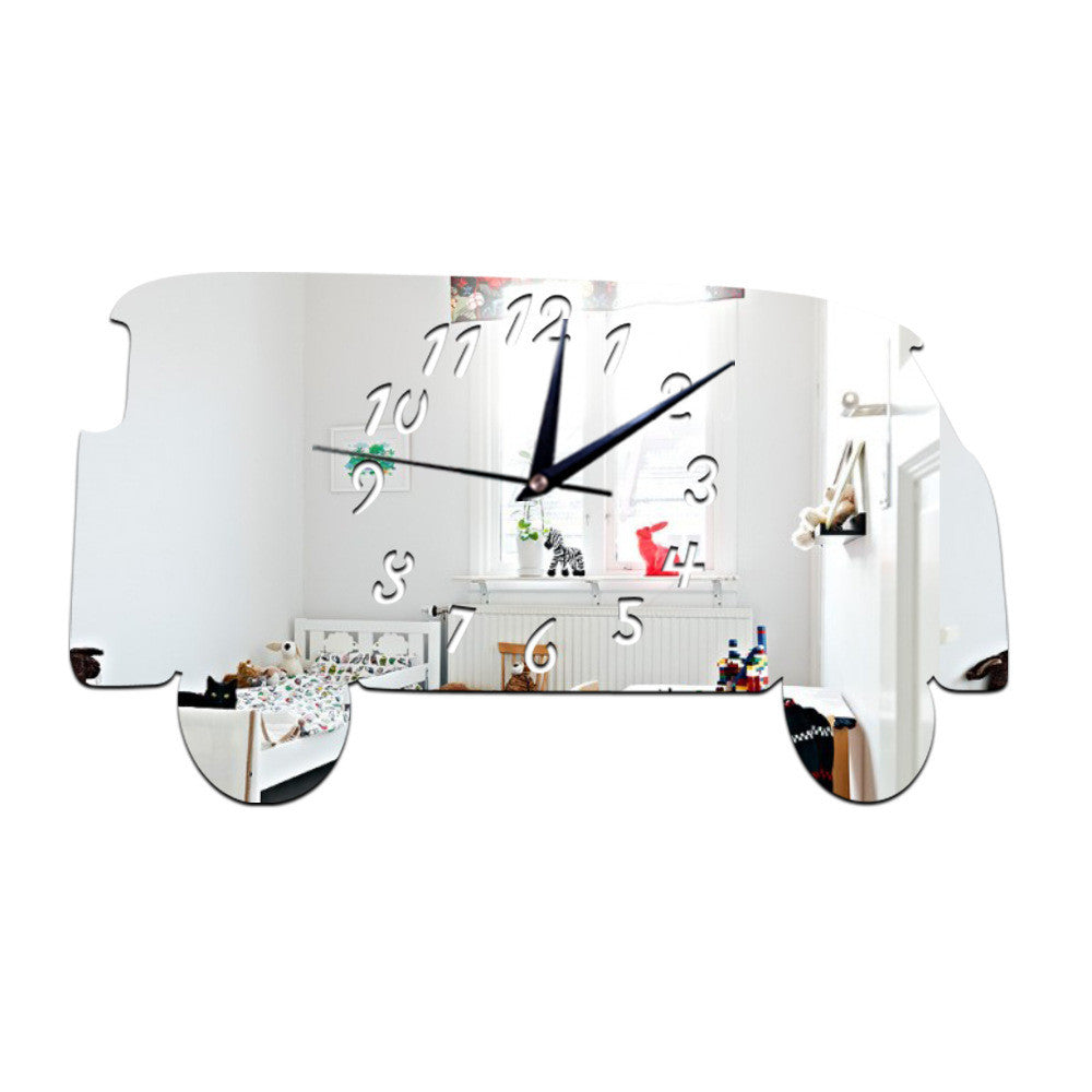 Creative Minibus Mirror Wall Clock Silent Acrylic Sticking   silver - Mega Save Wholesale & Retail