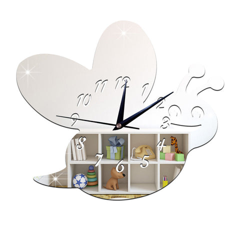 Kid Room Silent Cute Bee Mirror Wall Clock   silver - Mega Save Wholesale & Retail