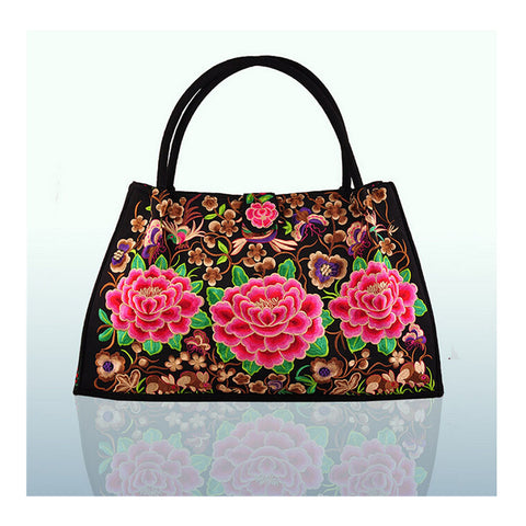 Bohemian Woman's Bag National Style Embroidery Single-shoulder Bag Embroidery Handbag Big Bag Factory(Big Szie)    silk string peony - Mega Save Wholesale & Retail - 1