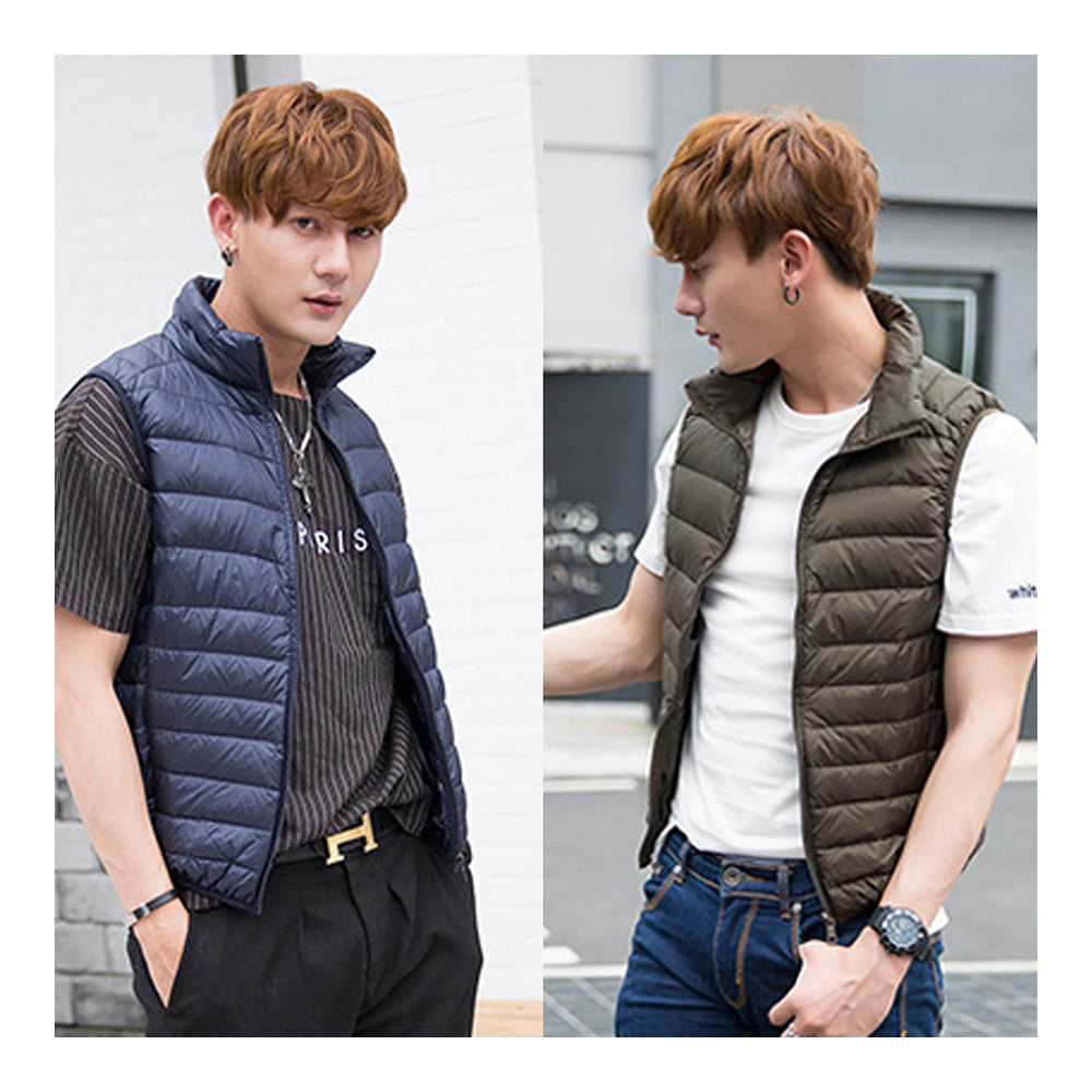 Man Thin Light Waistcoat Vest Down Coat Plus Size   army green   S - Mega Save Wholesale & Retail - 3