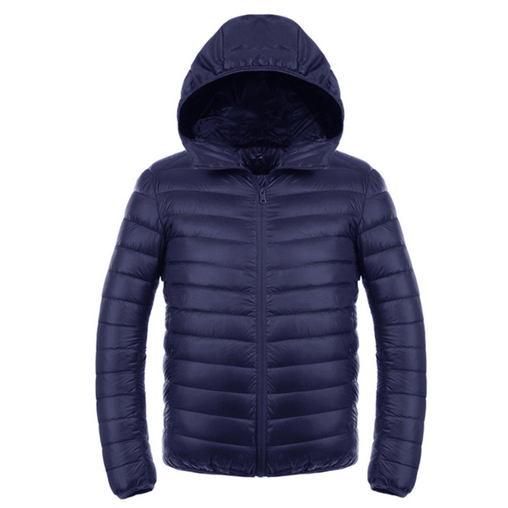 Light Thin Short Down Coat Man Hooded Fashionable   navy   S - Mega Save Wholesale & Retail - 1