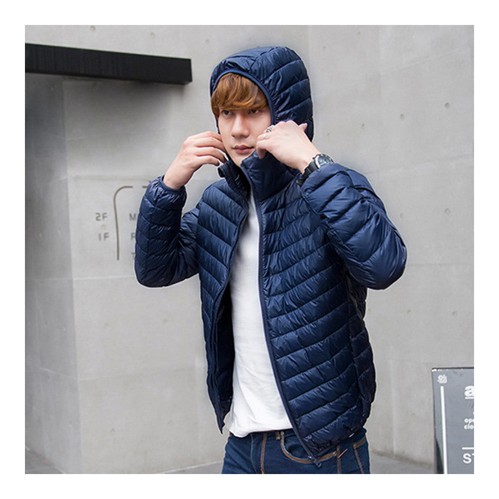 Light Thin Short Down Coat Man Hooded Fashionable   navy   S - Mega Save Wholesale & Retail - 2