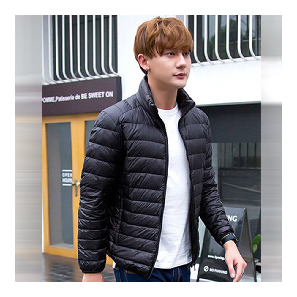 Light Thin Down Coat Man Stand Collar Winter Plus Size    black   S - Mega Save Wholesale & Retail - 2