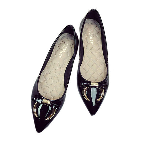 Ox Horn Metal Bowknot Pointed Low-cut Flat Thin Shoes  black  35 - Mega Save Wholesale & Retail