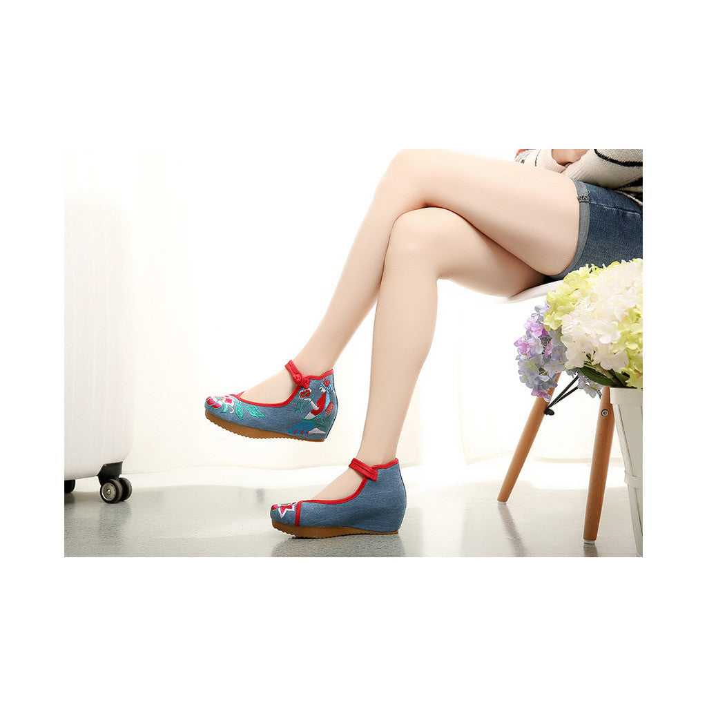 Beautiful Spring Embroidered Shoes for Woman in High Heeled Old Beijing Blue Jeans Style & Ankle Straps - Mega Save Wholesale & Retail - 4