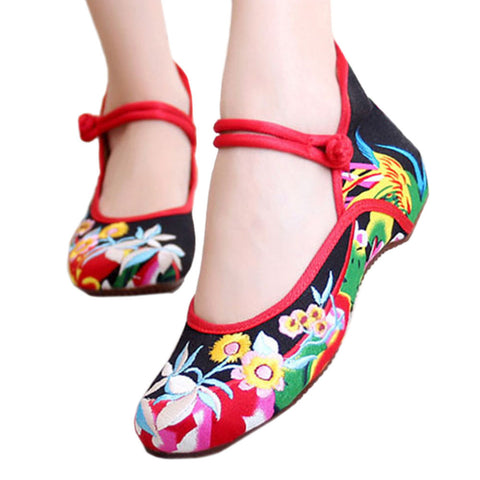 Chinese Embroidered Floral Shoes Women Ballerina Mary Jane Flat Ballet Cotton Loafer - Mega Save Wholesale & Retail - 1