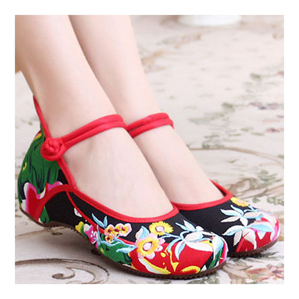 Chinese Embroidered Floral Shoes Women Ballerina Mary Jane Flat Ballet Cotton Loafer - Mega Save Wholesale & Retail - 2