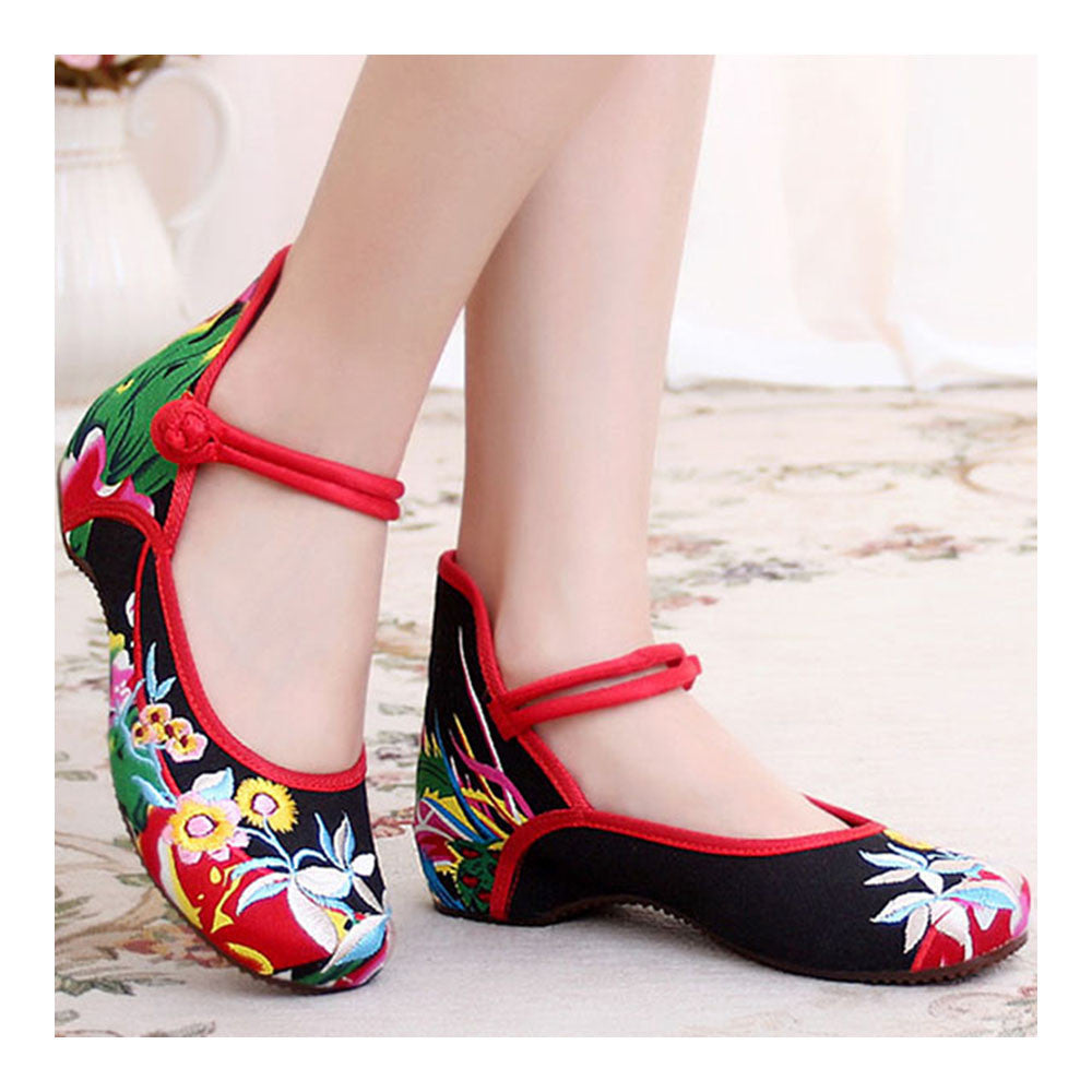 Chinese Embroidered Floral Shoes Women Ballerina Mary Jane Flat Ballet Cotton Loafer - Mega Save Wholesale & Retail - 3