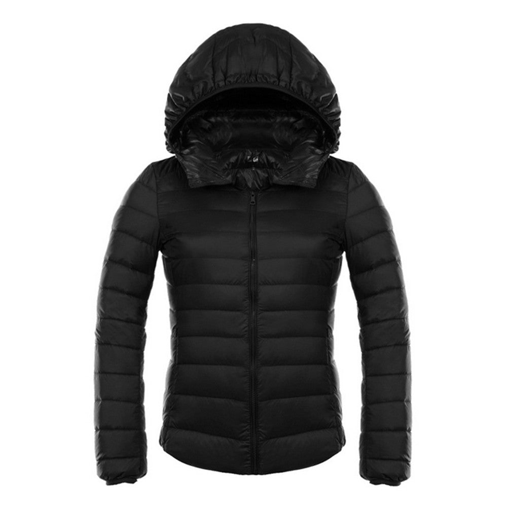 Woman Hooded Down Coat Short Thin Light Slim Plus Size   black    S - Mega Save Wholesale & Retail - 1