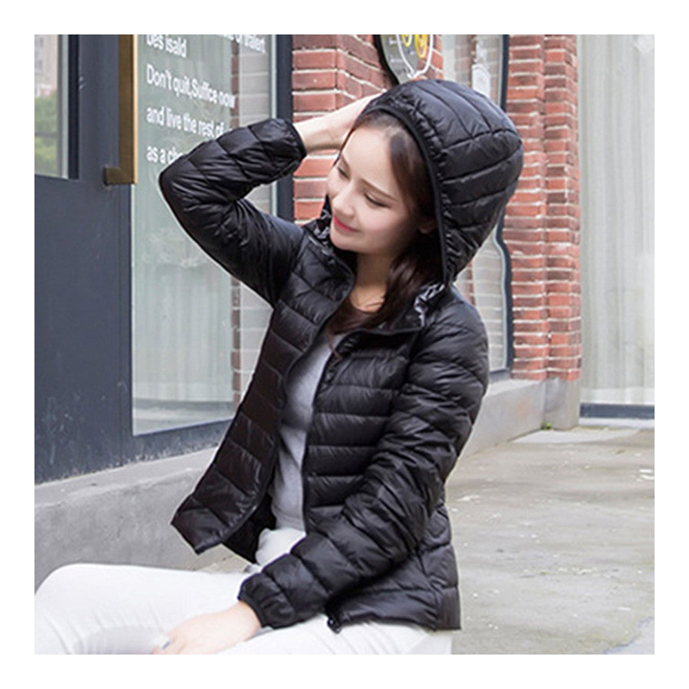 Woman Hooded Down Coat Short Thin Light Slim Plus Size   black    S - Mega Save Wholesale & Retail - 2