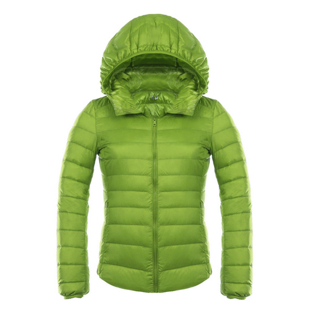 Woman Hooded Down Coat Short Thin Light Slim Plus Size   green   S - Mega Save Wholesale & Retail - 1
