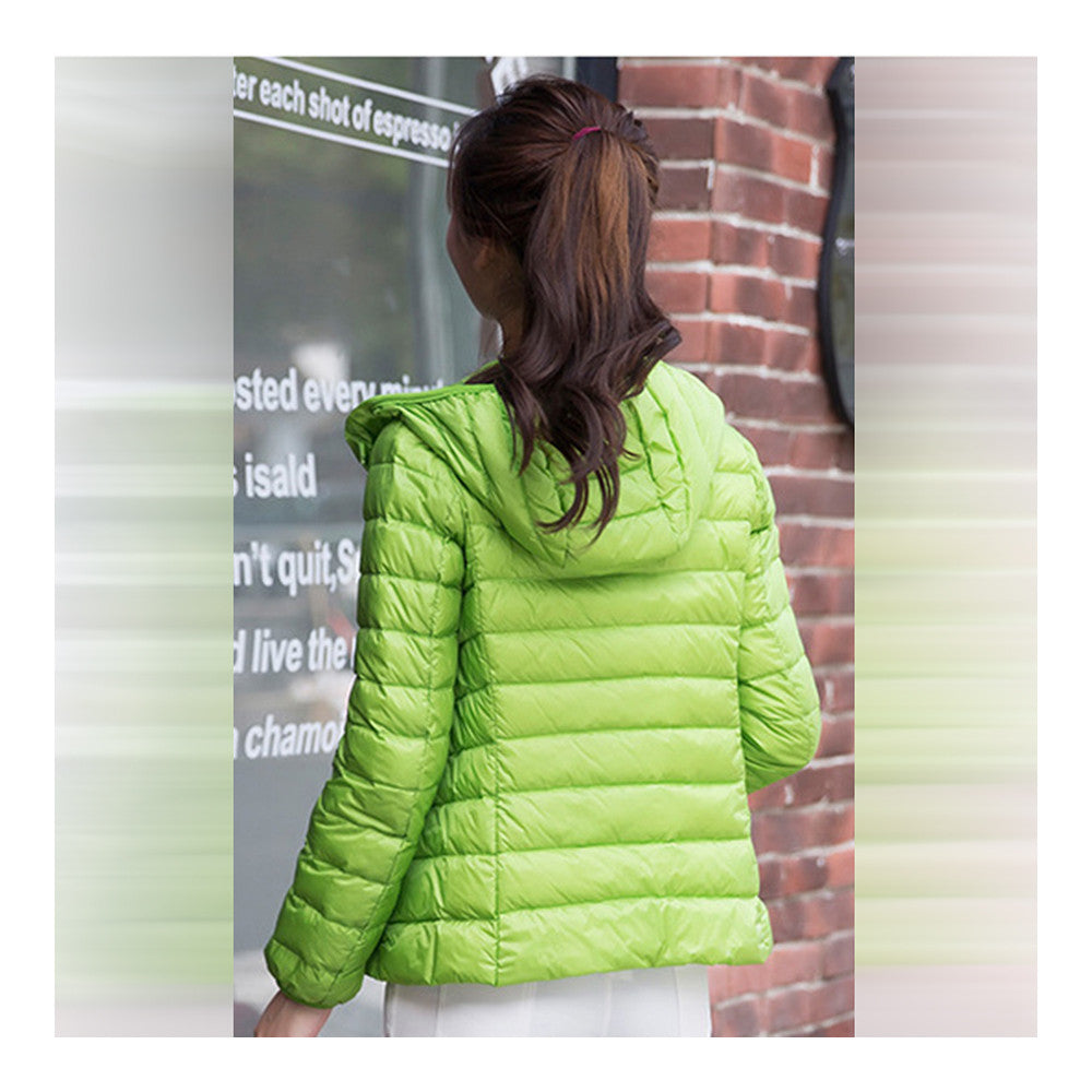 Woman Hooded Down Coat Short Thin Light Slim Plus Size   green   S - Mega Save Wholesale & Retail - 2