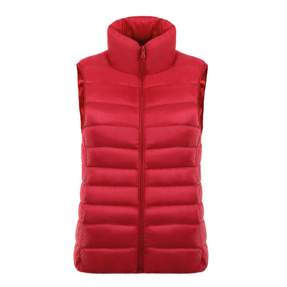 Down Coat Woman Short Slim Thin Light Plus Size Waistcoat   red    S - Mega Save Wholesale & Retail - 1