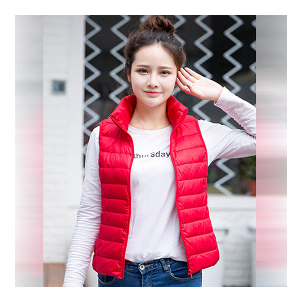 Down Coat Woman Short Slim Thin Light Plus Size Waistcoat   red    S - Mega Save Wholesale & Retail - 2