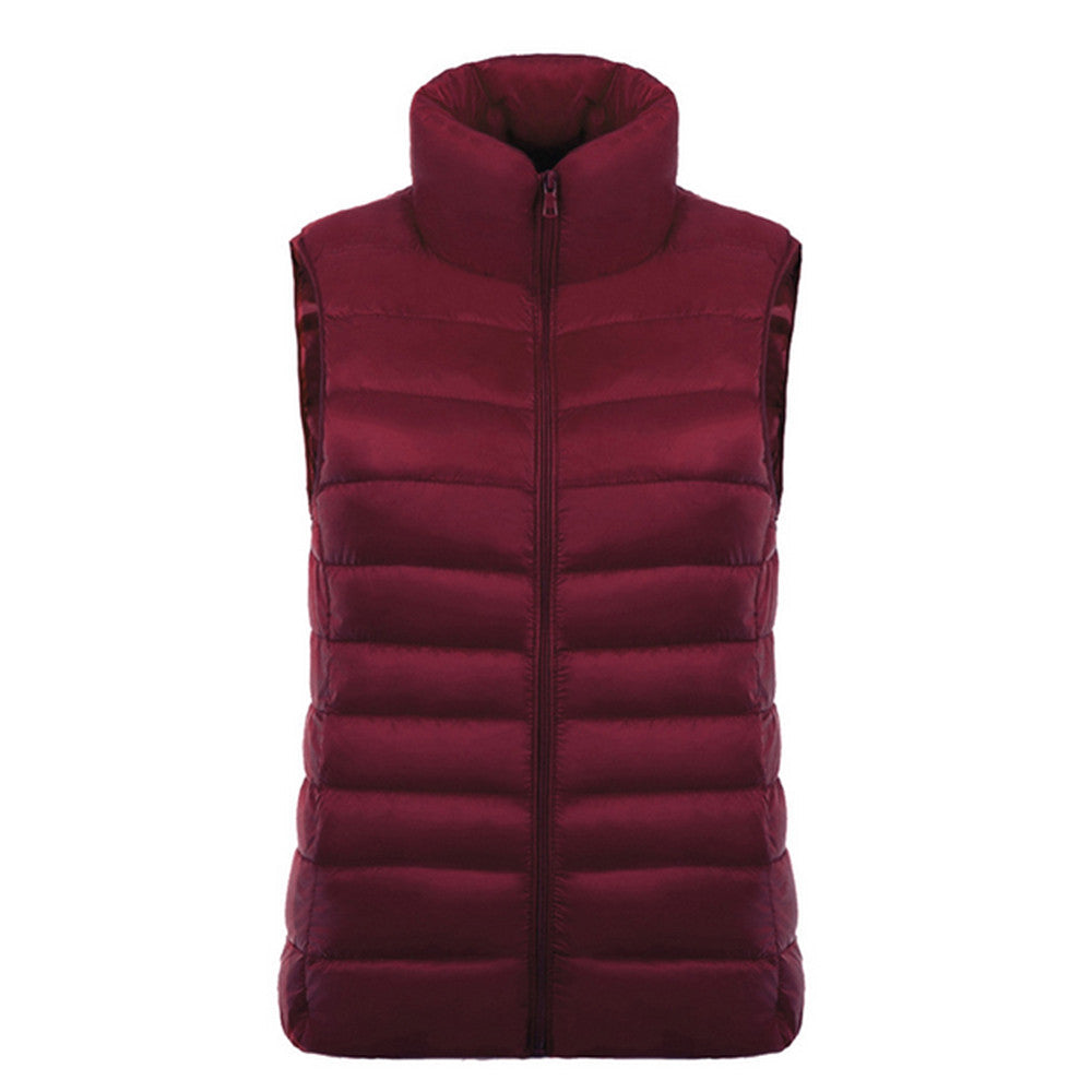 Down Coat Woman Short Slim Thin Light Plus Size Waistcoat   wine red   S - Mega Save Wholesale & Retail - 1