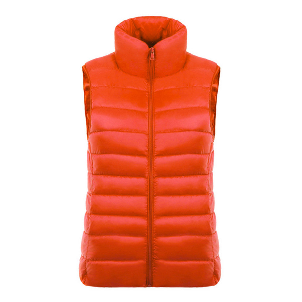Down Coat Woman Short Slim Thin Light Plus Size Waistcoat   orange   S - Mega Save Wholesale & Retail - 1