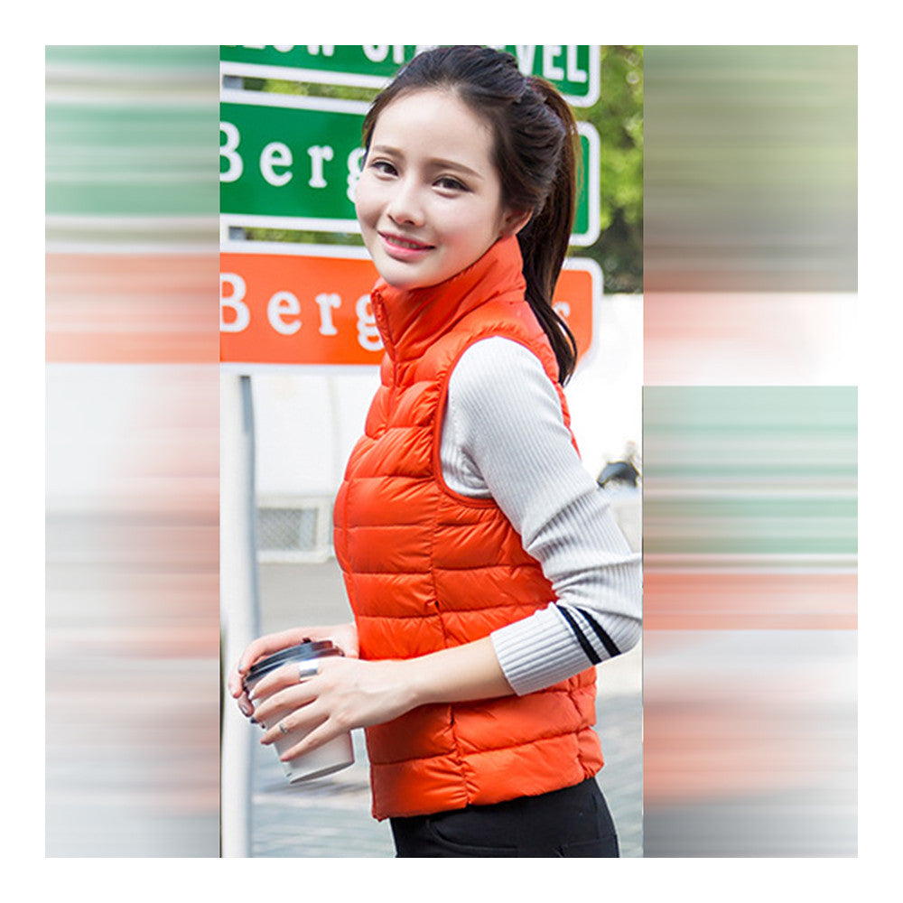 Down Coat Woman Short Slim Thin Light Plus Size Waistcoat   orange   S - Mega Save Wholesale & Retail - 2