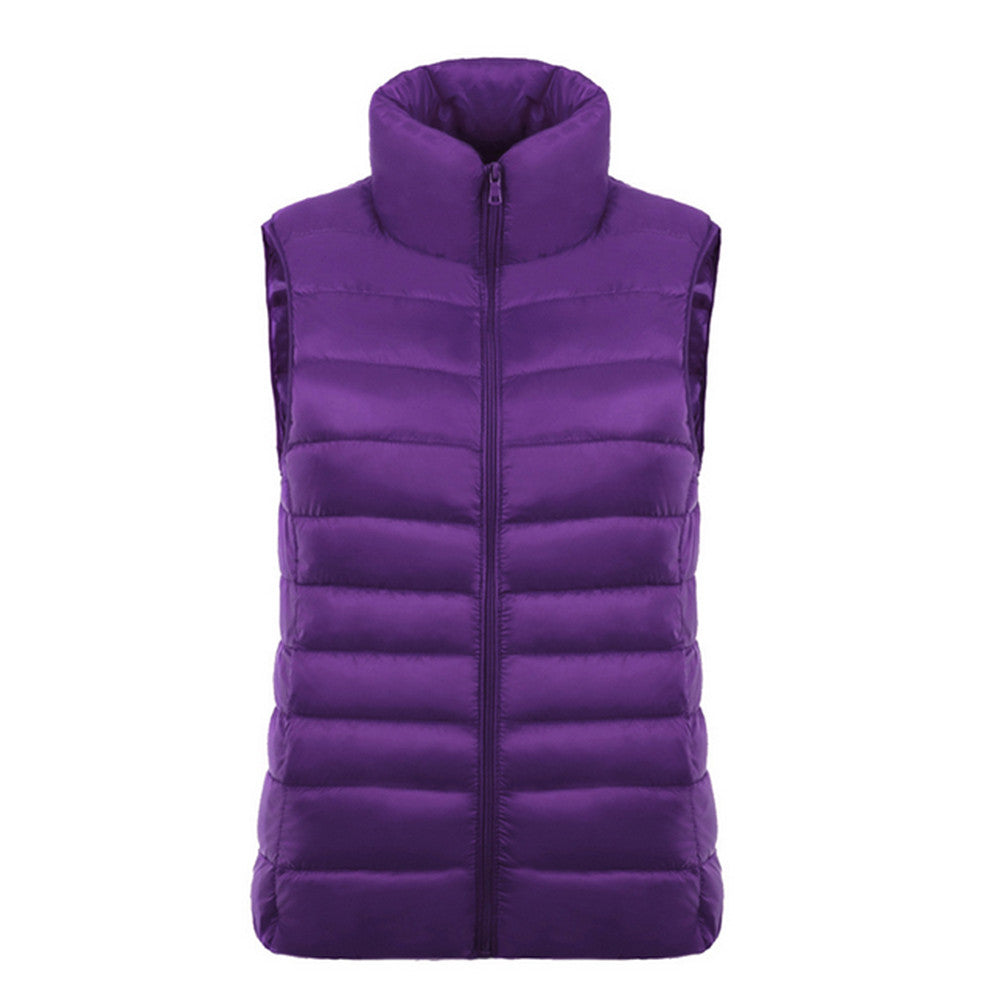 Down Coat Woman Short Slim Thin Light Plus Size Waistcoat   purple   S - Mega Save Wholesale & Retail - 1