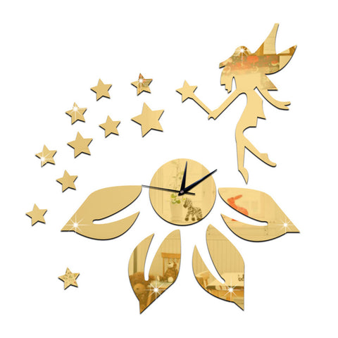 Living Room Mirror Wall Clock DIY Flower Elf Angle    golden - Mega Save Wholesale & Retail