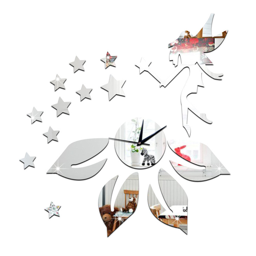 Living Room Mirror Wall Clock DIY Flower Elf Angle    silver - Mega Save Wholesale & Retail