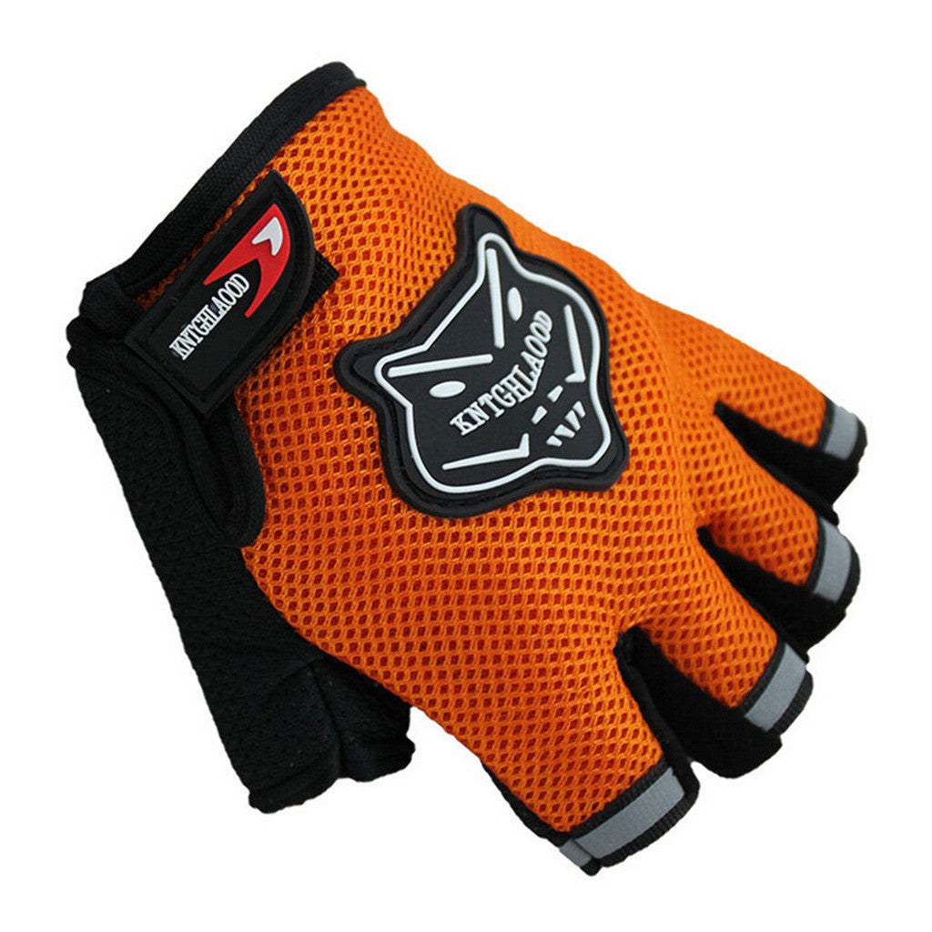 Outdoor Sports Fingerless Breathable Cycling Gloves Bike Bicycle Half Finger Gloves Red - Mega Save Wholesale & Retail - 3