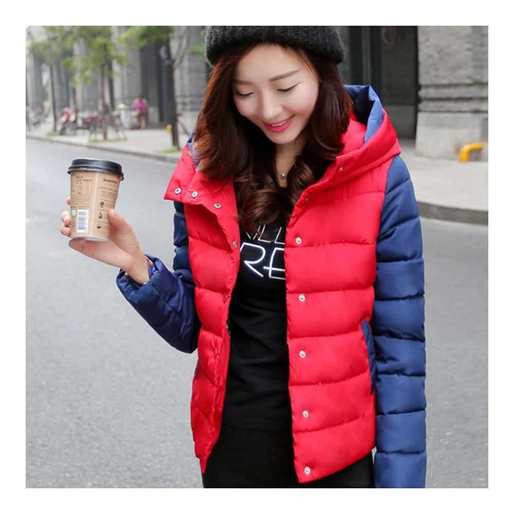Thin Light Down Coat Woman Hooded Slim Short   red   M - Mega Save Wholesale & Retail - 1