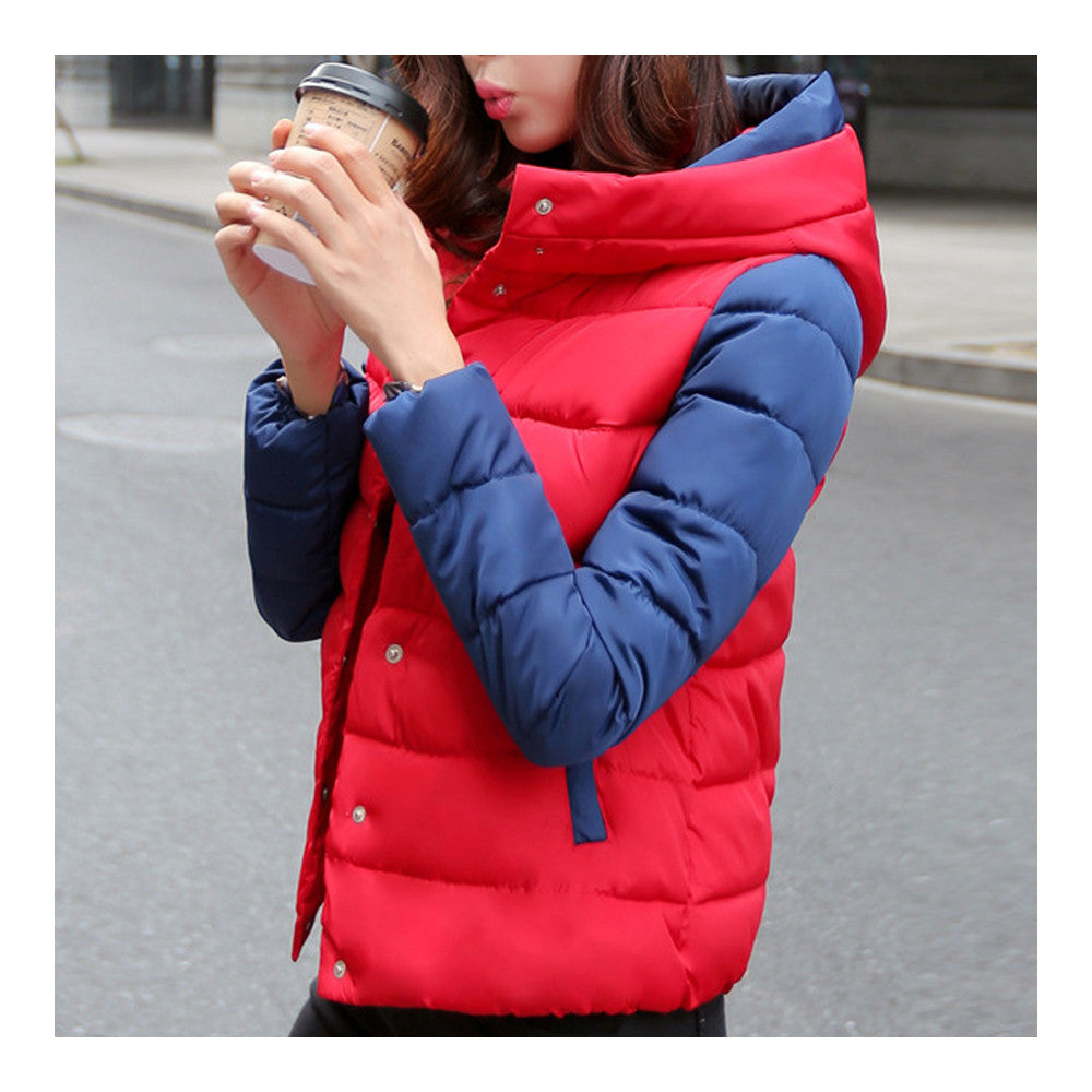 Thin Light Down Coat Woman Hooded Slim Short   red   M - Mega Save Wholesale & Retail - 2