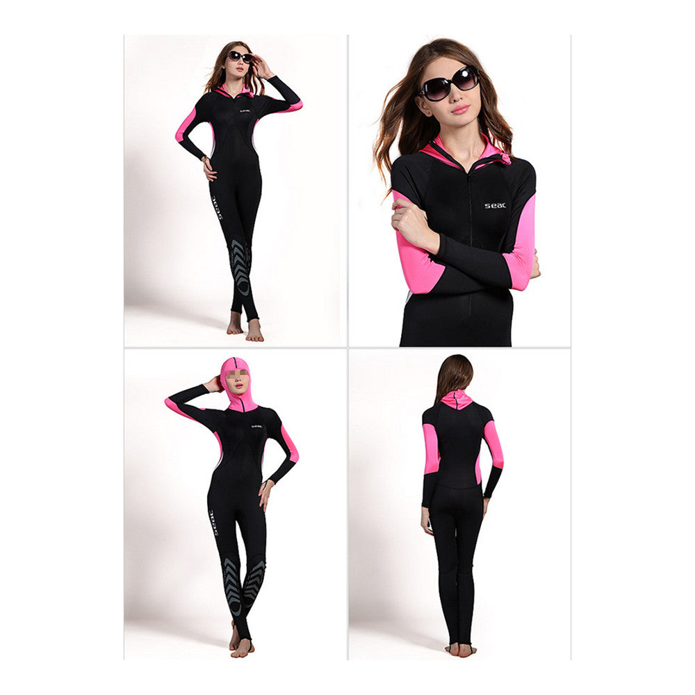 S012 S013 S014 S015 One-piece Diving Suit Surfing Wetsuit   red hooded printed   XXS - Mega Save Wholesale & Retail - 2