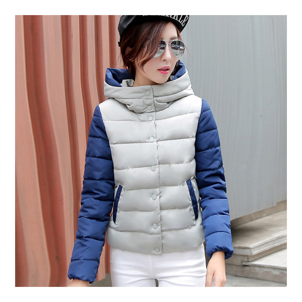 Thin Light Down Coat Woman Hooded Slim Short   grey   M - Mega Save Wholesale & Retail - 1