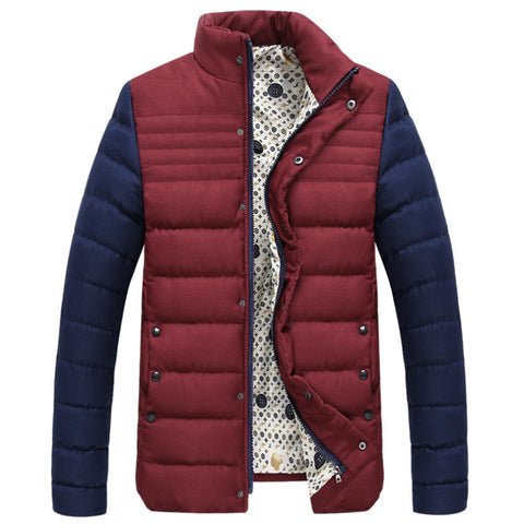 Cotton Coat Hoodied Splicing Warm Contrast Color   wine red   M - Mega Save Wholesale & Retail - 1