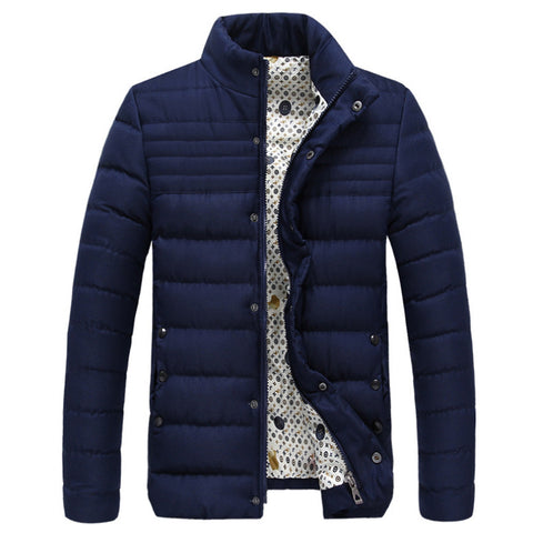 Cotton Coat Hoodied Splicing Warm Contrast Color  dark blue   M - Mega Save Wholesale & Retail - 1