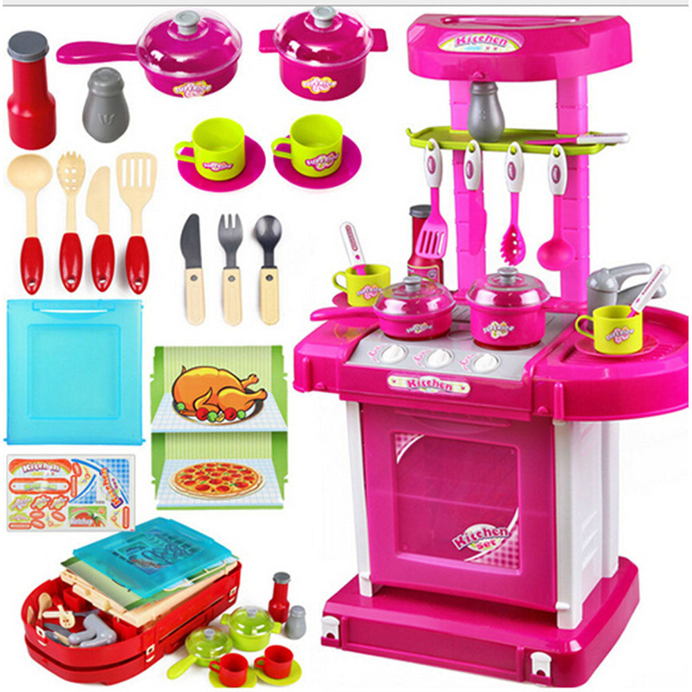 Kid's Kitchen Utensils Set Play House, Changable Combination Kitchen Ware,imitate cooking,Perfect Gift   red - Mega Save Wholesale & Retail - 2