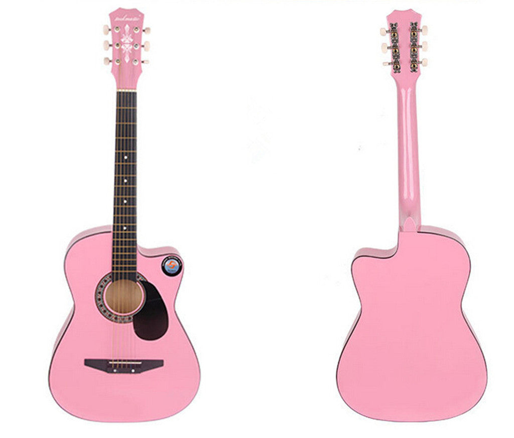 New Professional Acoustic Callaway Folk 38 inch  Guitar STAGE ESSENTIALS Pink - Mega Save Wholesale & Retail