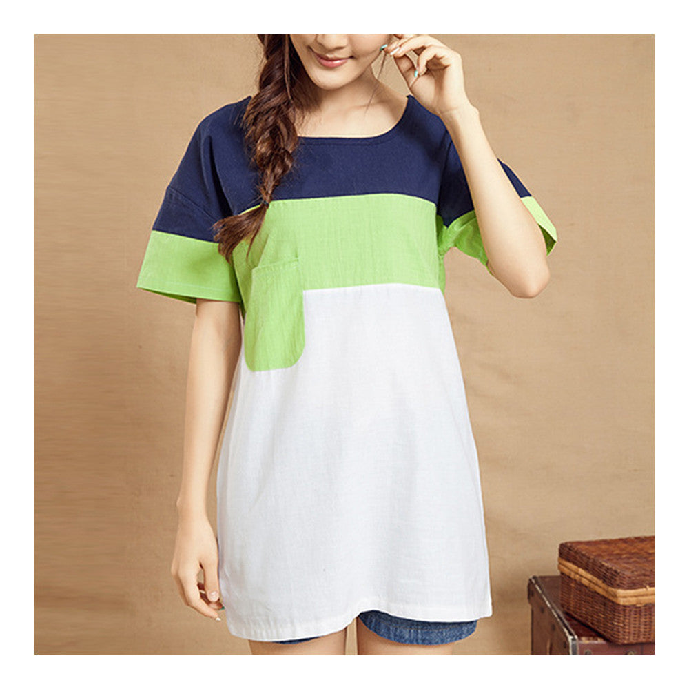 Plus Size Loose Contrast Color Splicing T-shirt   green   M - Mega Save Wholesale & Retail