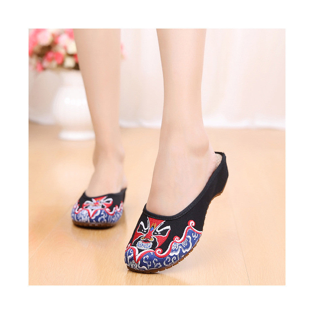 Old Beijing Cloth Shoes Slippers Embroidered Shoes Slipsole Sandals National Style  black - Mega Save Wholesale & Retail - 1