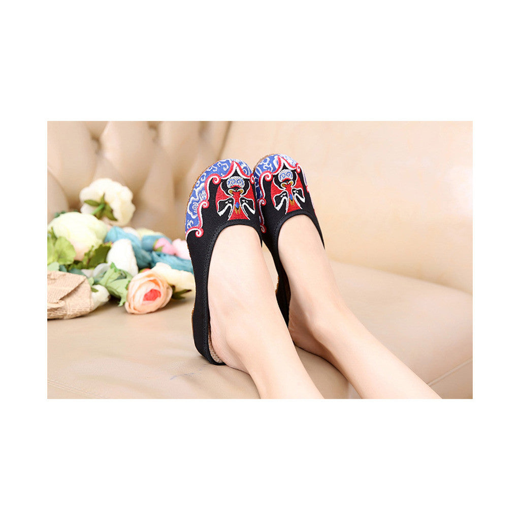 Old Beijing Cloth Shoes Slippers Embroidered Shoes Slipsole Sandals National Style  black - Mega Save Wholesale & Retail - 2