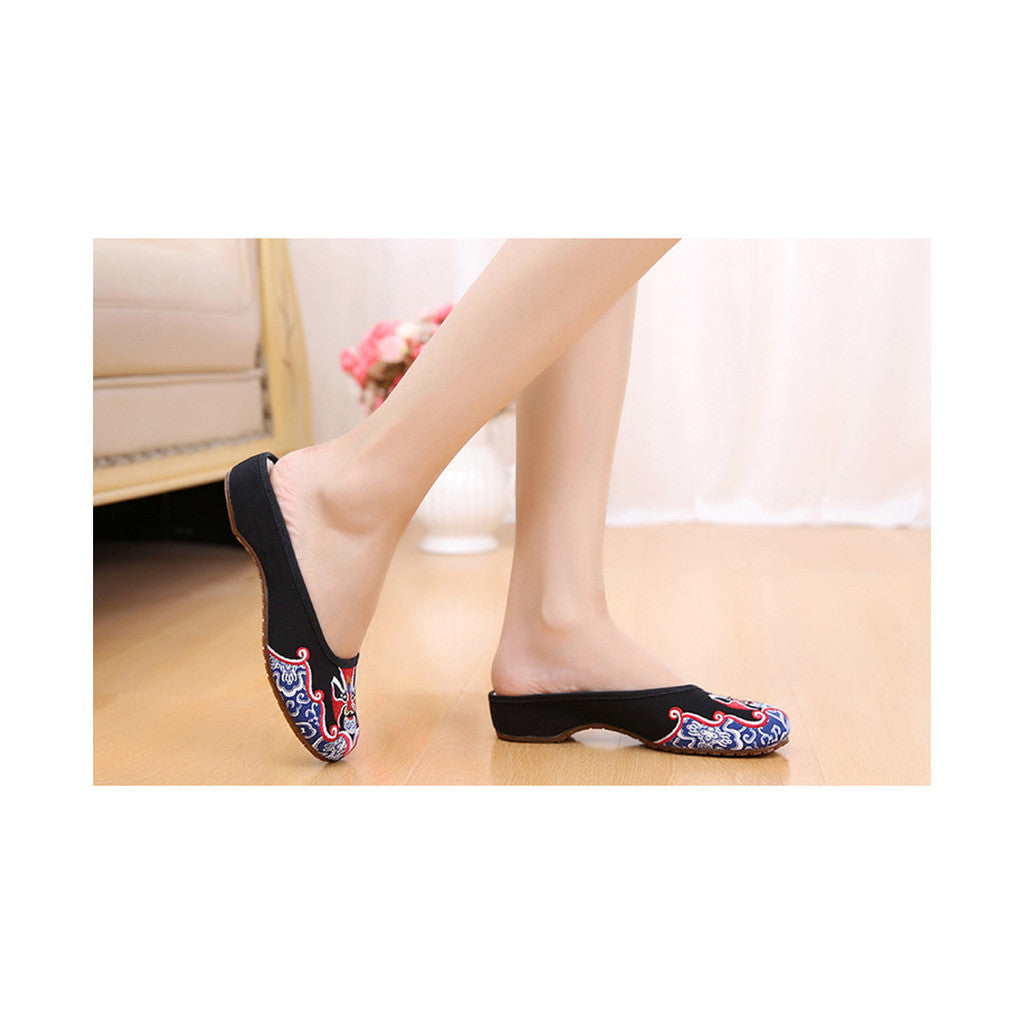 Old Beijing Cloth Shoes Slippers Embroidered Shoes Slipsole Sandals National Style  black - Mega Save Wholesale & Retail - 3