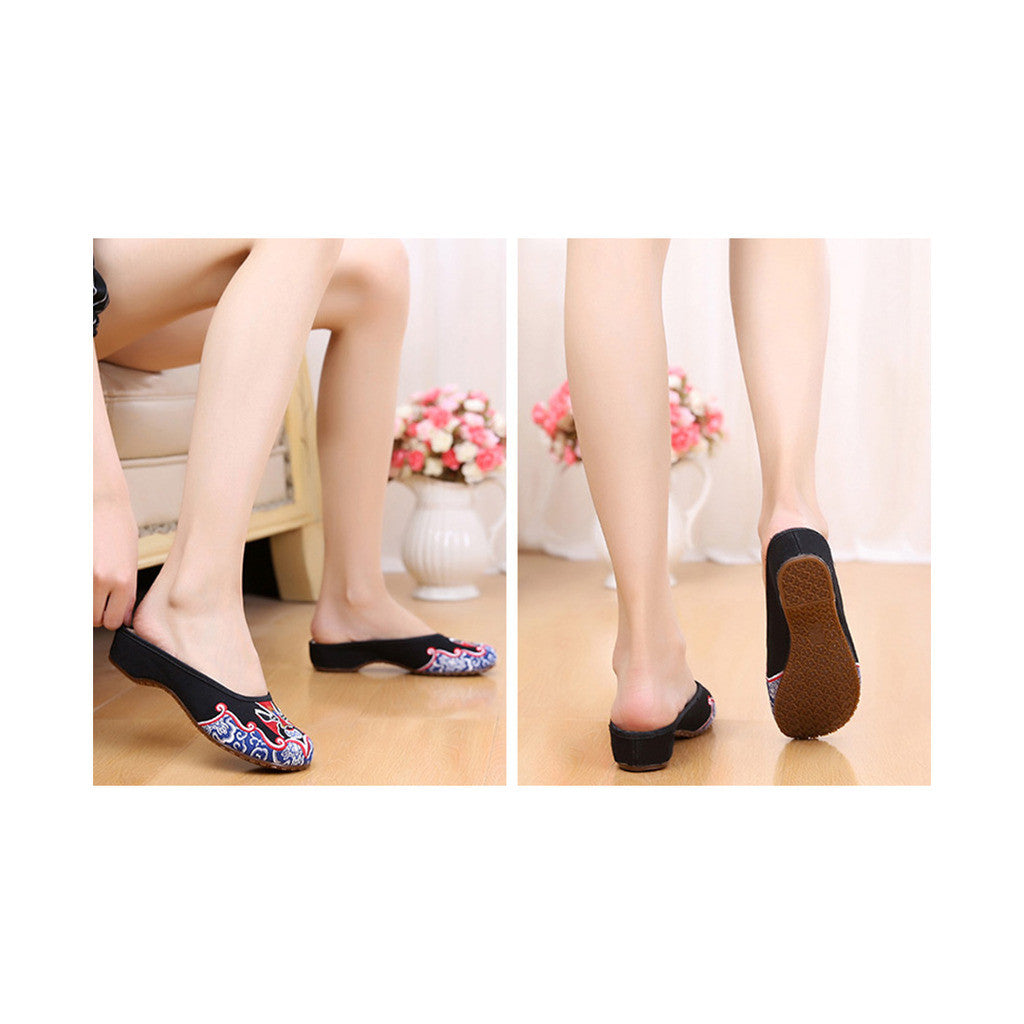 Old Beijing Cloth Shoes Slippers Embroidered Shoes Slipsole Sandals National Style  black - Mega Save Wholesale & Retail - 4
