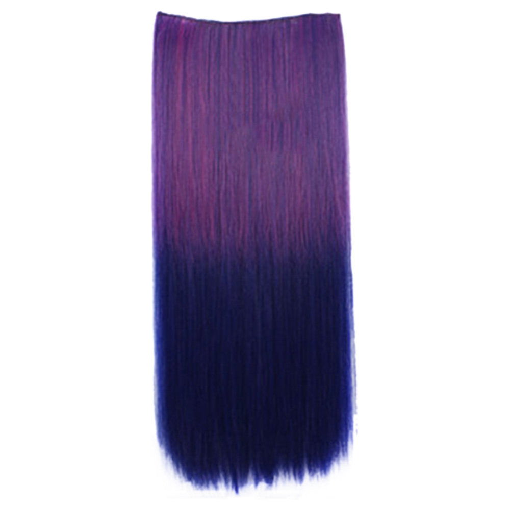 Wholesale color wig hair extension piece a five-card straight hair gradient hair piece long straight hair piece hair extension   Q12 ROSE DARK BLUE GRADIENT