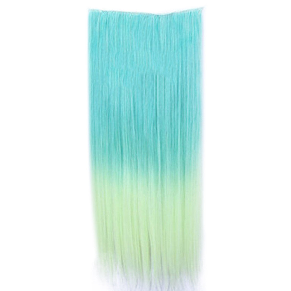 Wholesale color wig hair extension piece a five-card straight hair gradient hair piece long straight hair piece hair extension   Q18 MALACHITE GREEN GRADIENT VANILLA