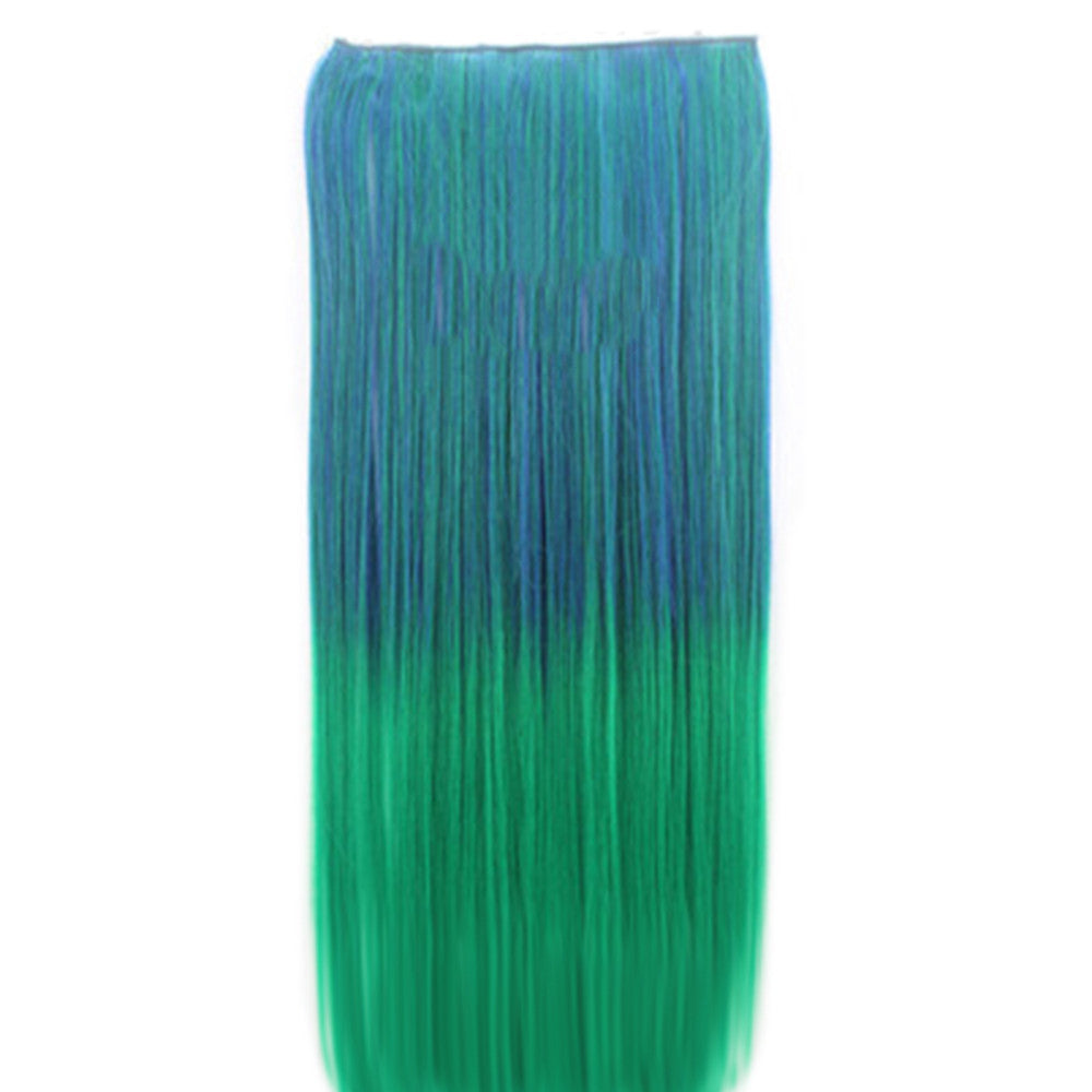 Wholesale color wig hair extension piece a five-card straight hair gradient hair piece long straight hair piece hair extension   Q21 CLEAR BLUE GRADIENT GRASS