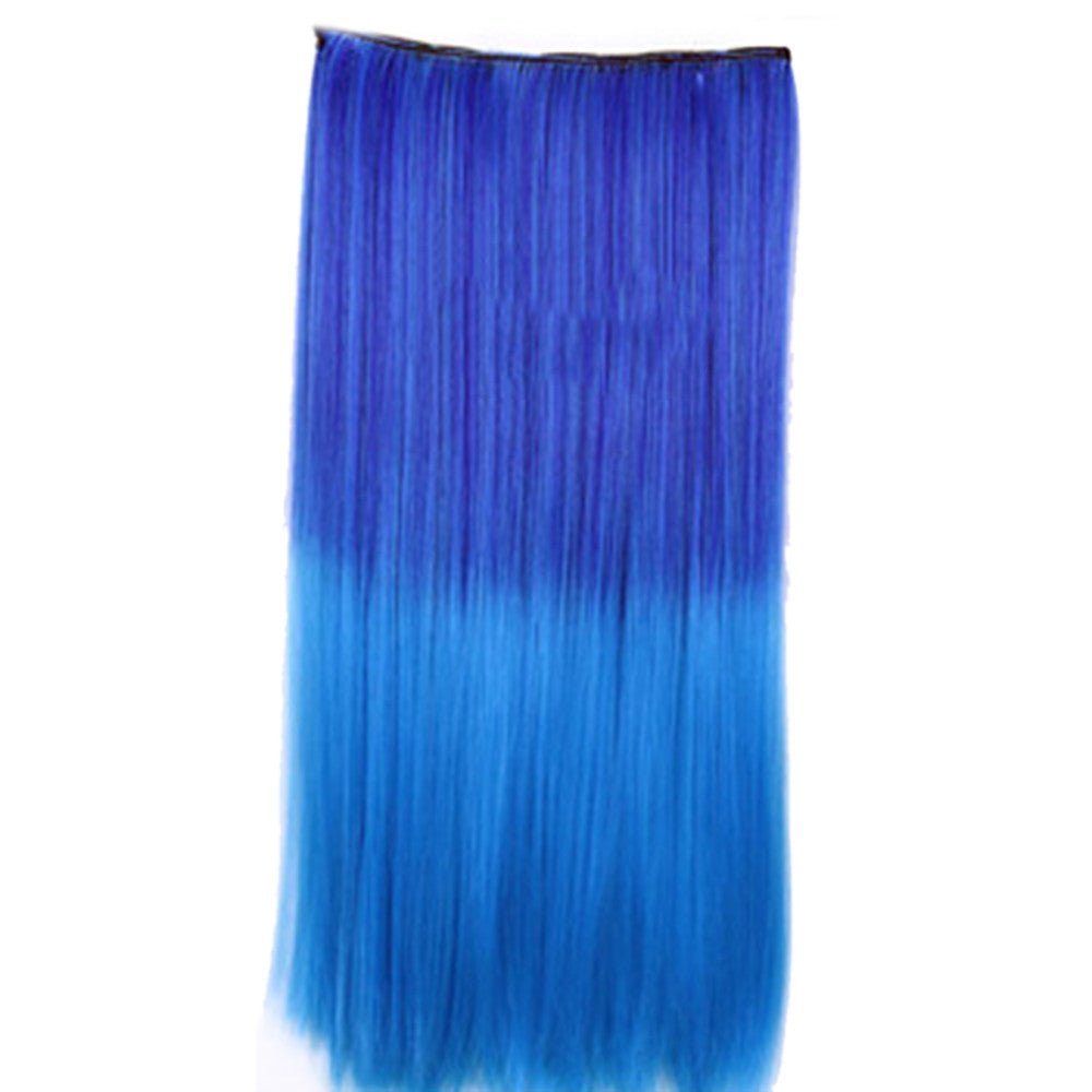 Wholesale color wig hair extension piece a five-card straight hair gradient hair piece long straight hair piece hair extension   Q23 SAPPHIRE BLUE GRADIENT FANTASY
