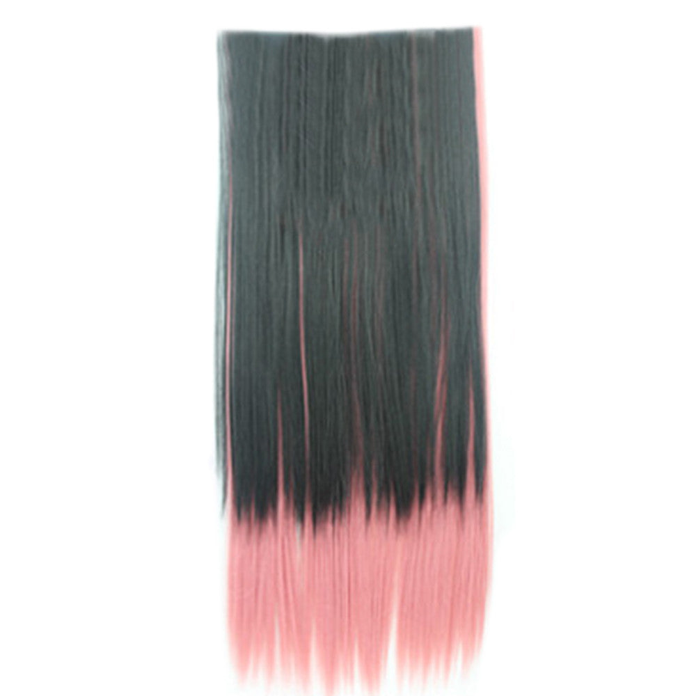 Wholesale color wig hair extension piece a five-card straight hair gradient hair piece long straight hair piece hair extension   Q33 STREAKED BLACK POWDER ROUGE - Mega Save Wholesale & Retail - 1