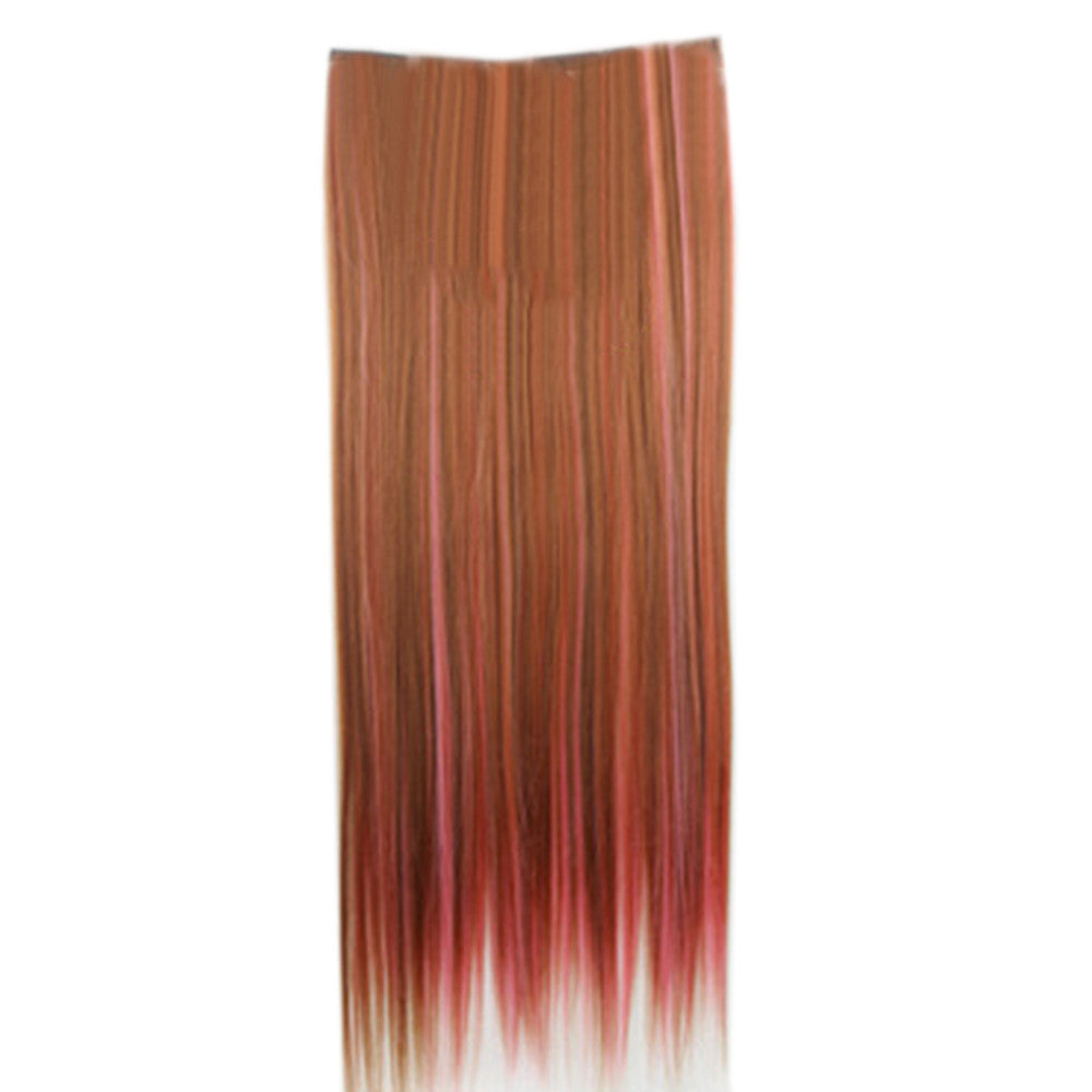 Wholesale color wig hair extension piece a five-card straight hair gradient hair piece long straight hair piece hair extension   Q35 BLONDE HIGHLIGHTS ROUGE POWDER - Mega Save Wholesale & Retail - 1