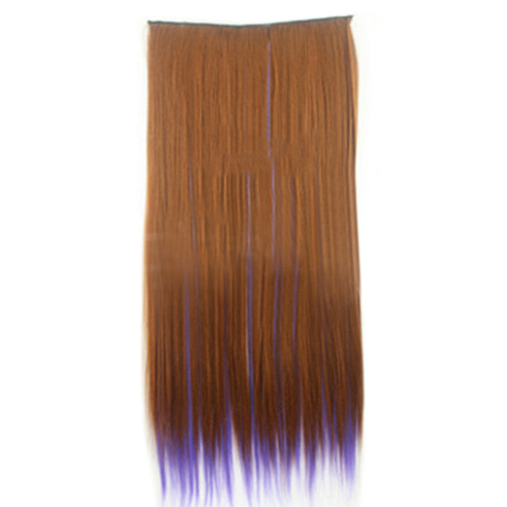 Wholesale color wig hair extension piece a five-card straight hair gradient hair piece long straight hair piece hair extension   Q38 BLOND STREAKED PURPLE - Mega Save Wholesale & Retail - 1