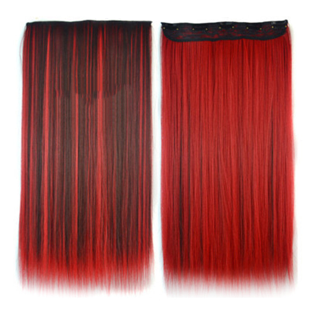 Wholesale color wig hair extension piece a five-card straight hair gradient hair piece long straight hair piece hair extension   Q42 DYEING DARK BROWN RED - Mega Save Wholesale & Retail - 1