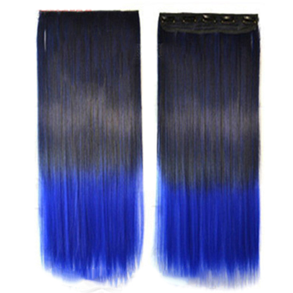Wholesale color wig hair extension piece a five-card straight hair gradient hair piece long straight hair piece hair extension   Q4 SAPPHIRE BLUE BLACK GRADIENT
