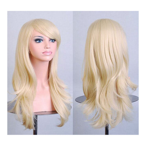 "27.5"" 70cm Long Wavy Curly Cosplay Fashion Mermaid Fantasy Wig heat resistant   light golden - Mega Save Wholesale & Retail"