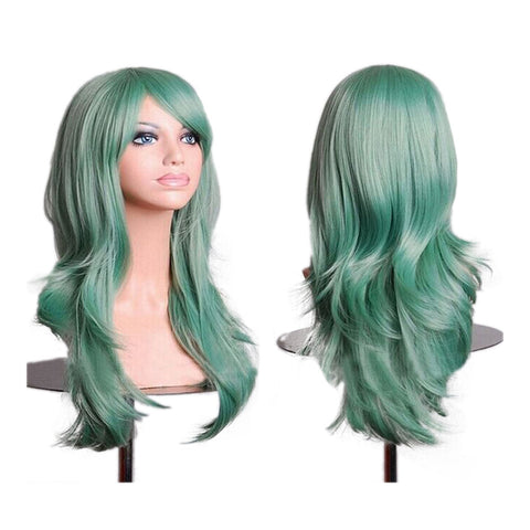 "27.5"" 70cm Long Wavy Curly Cosplay Fashion Mermaid Fantasy Wig heat resistant  light green - Mega Save Wholesale & Retail"
