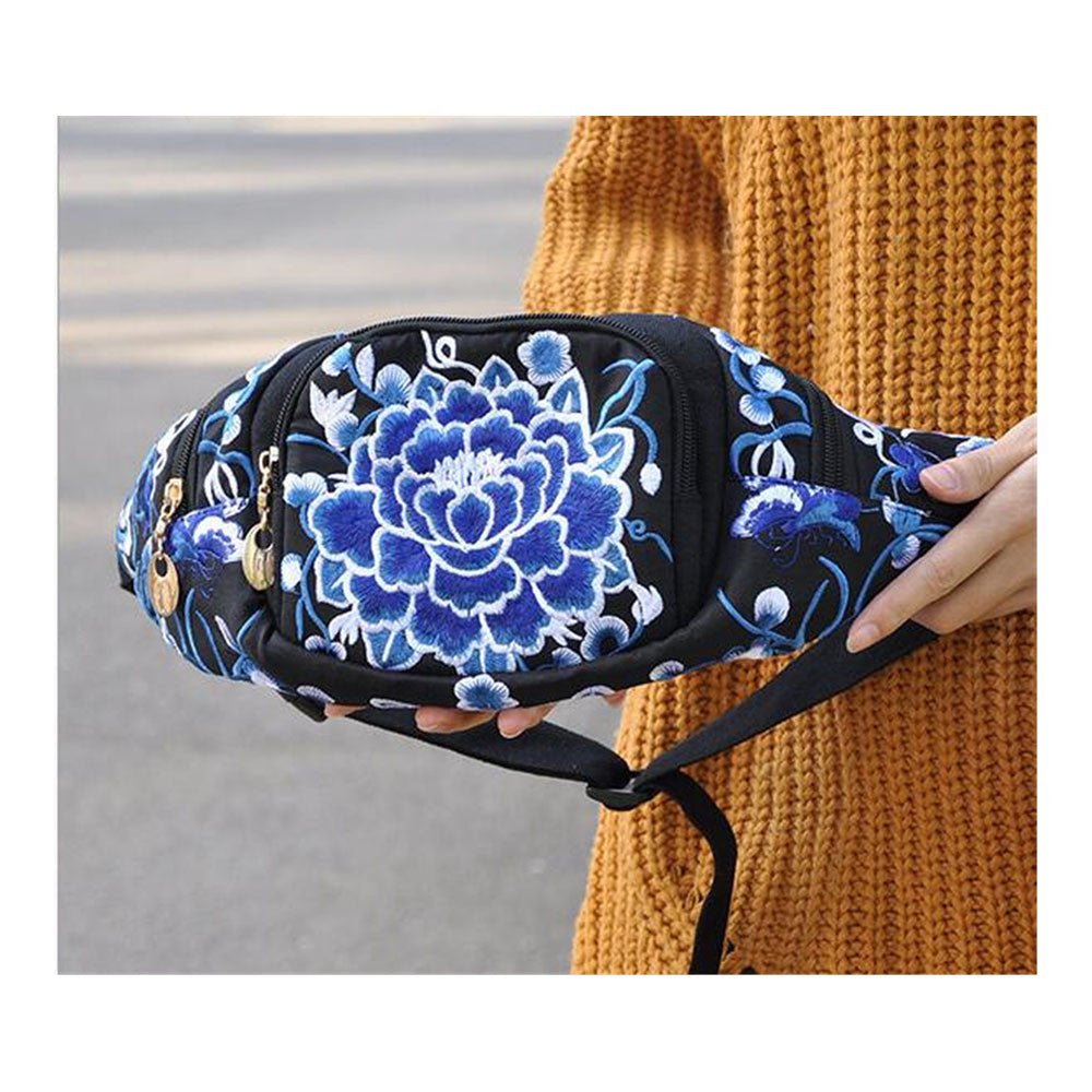 New Original Design Cosmetic Bag Woman's Bag High Volume Waist Bag    blue and white flower - Mega Save Wholesale & Retail - 1